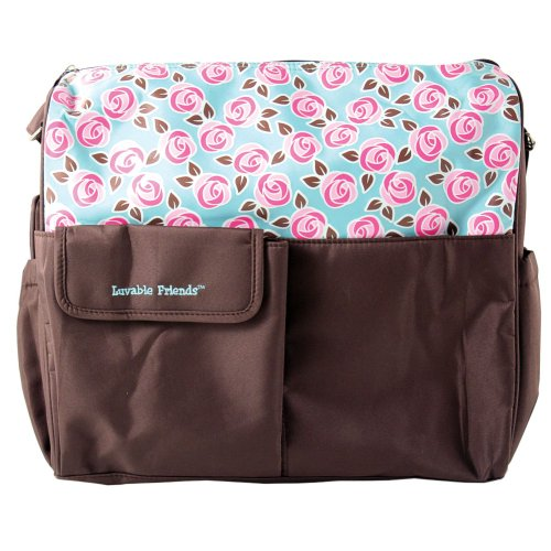 Luvable Friends Diaper Tote Bag, Brown, Large