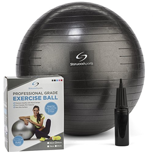 Exercise Ball - Yoga Swiss Ball with Hand Pump - Gym Quality Fitness Ball for Women and Men - Lifetime Guarantee (Black 65 cm)