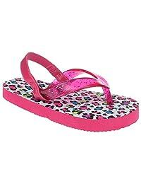 Capelli New York Glitter jelly thong on leopard print Toddler Girls Flip Flops