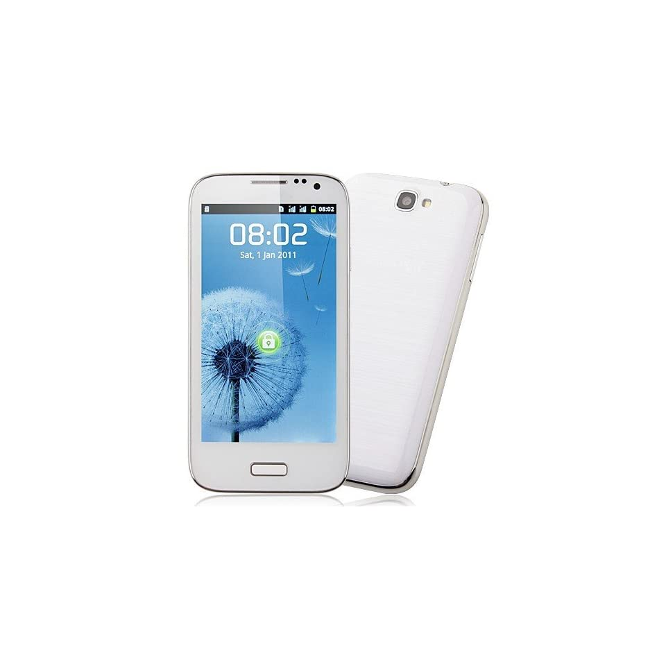 Generic Unlocked Quadband Dual sim with Android 2.3 OS (Android 4.0 UI) Smart Phone 4.5 Inch Capacitive Touch Screen T mobile Simple mobile (White)