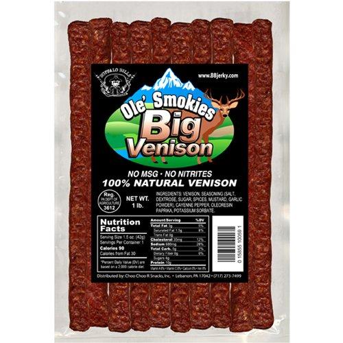 Buffalo Bills Big Venison Ole' Smokies 1-lb Pack (1 pound of venison sticks per bag - no MSG)