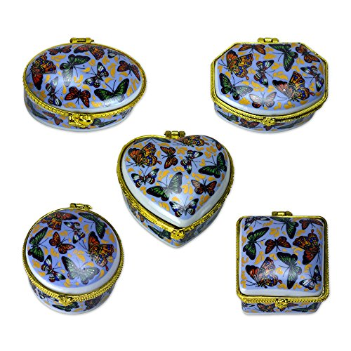 TransSino Treasures Porcelain Hinged Boxes with Butterfly Motif in Light Blue Set of 5