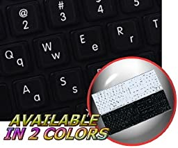 MAC ENGLISH (UPPER AND LOWER LETTERS) NON-TRANSPARENT KEYBOARD STICKERS ON BLACK BACKGROUND FOR LAPTOP, DESKTOP AND NOTEBOOK