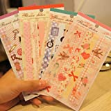 4 Sheets Self Adhesive Paper Flower Sticker Deco Craft Diary Sticker Gift