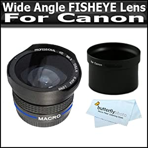 0.40X Wide Angle FISHEYE Lens WIth Macro For Canon Powershot G10 G11 G12 With Tube Adapter Better than 0.42X