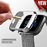 PSRAT Fitbit Versa case, Fitbit Versa Screen Protector TPU All-Around Full Front Protective Case 0.3mm HD Clear Cover for Fitbit Versa Smart Fitness Watch (Silver) (Color: silver)