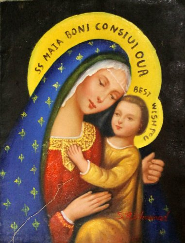 Madonna & Child Virgin Mary Icon Painting Hand Painted Oil on Cloth Canvas 12x16