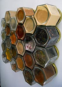 DIY LARGE HEX SILVER: Magnetic Spice Rack (Includes 12 EMPTY Large Hexagonal Glass Jars,... by Gneiss Spice