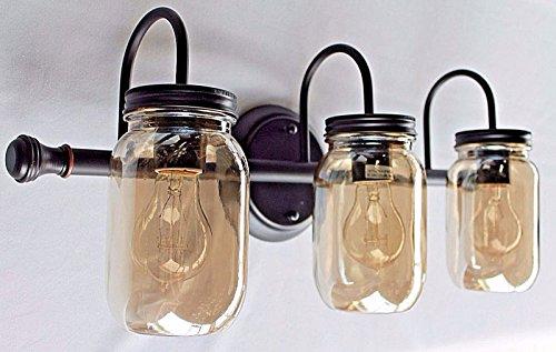 Mason Jar Lighting, 3 light dark bronze vanity light with smoked mason jar glass (Mason Jar Bathroom Lighting compare prices)