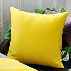 "TAOSON Home Decorative Cotton Canvas Square Throw Pillow Cover Cushion Case Solid Pillowcase with Hidden Zipper Closure Multiple Colors (18""x18""(45x45cm),Yellow)"