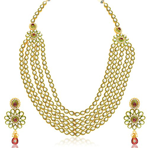 Sukkhi Blossomy Five Strings Gold Plated Kundan Necklace Set For Women