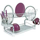 Dish Drainer 2 Tier Chrome with White Removable Drip Tray