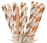 Thanksgiving Dinner Straws (25 Pack) - Fall Leaf Autumn Wedding Party Supplies, Orange and Brown Assorted Paper Straws for Thanksgiving Table Decor