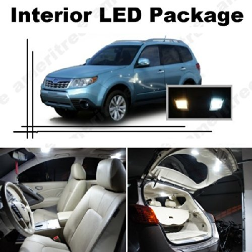 Ameritree Xenon White Led Lights Interior Package + White Led License Plate Kit For Subaru Forester 1998-2014 (8 Pcs)