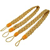 SODIAL(R) 2 Rope curtain tiebacks - slender slinky rope cord drape hold backs fabric ties