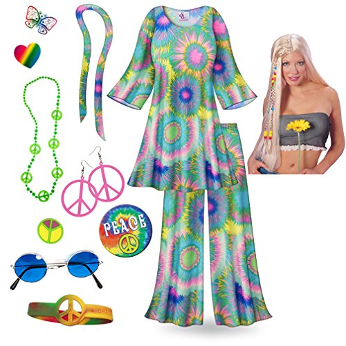 Tie Dye Print 2PC Plus Size Supersize Hippie Costume Deluxe Wig Kit