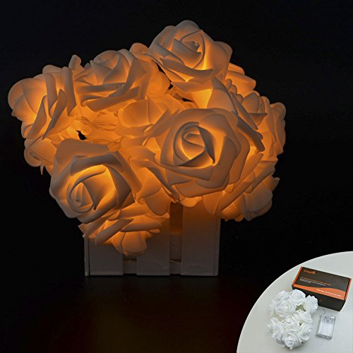 CrazyFire® 6.5ft/2.2m Flower String Lights,Rose Shape 20 LEDs Orange Wedding Decorations Lights For Chritsmas Wedding Halloween Patio Party Fairy String Lights