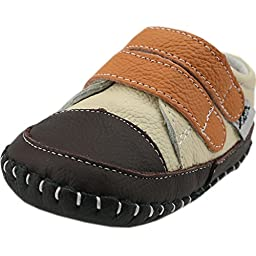 Orgrimmar Baby Boys Girls First Walkers Soft Sole Leather Baby Shoes (Size L, Beige and Orange Velcro)