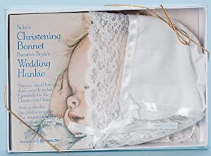 Roman Deluxe Lace Christening Bonnet and Handkerchief for Bride's Wedding