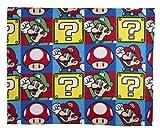 Character World Nintendo Mario Brothers Rotary Fleece Blanket, Multi-Color