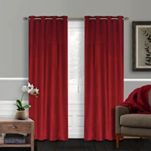 LJ Home Fashions Vision shimmering window panels in red (set of 2)
