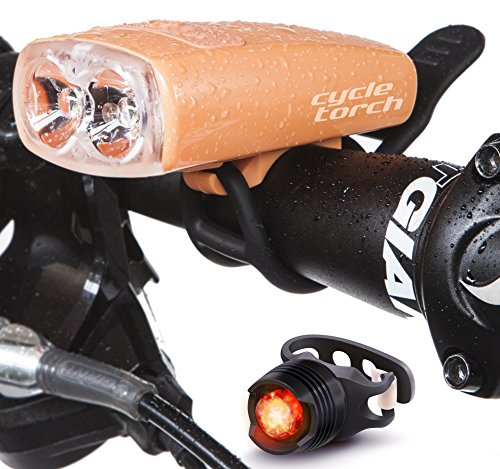 Cycle Torch Night Owl Bike Light USB Rechargeable - Perfect Urban Commuter Bicycle Light Set - Bright TAIL LIGHT Included - Compatible with Mountain, Road ,Kids & City Bicycles (Peach Orange )
