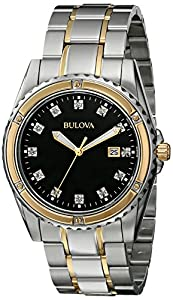Bulova Men's 98D122 Diamond Analog Display Japanese Quartz Two Tone Watch