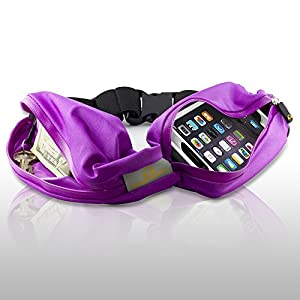 Gear Beast Dual Pocket Sports, Running and Fitness Expandable Weather Resistant Waist Pack Belt (Purple)