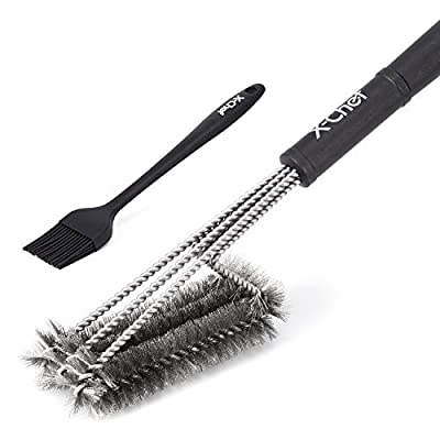 "Grill Brush and Scraper, X-Chef 18"" BBQ Cleaner Brush 3 in 1 Brushes for Cleanning Charbroil Weber Porcelain and Infrared Grills Silicone Brush"
