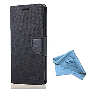 CZap Mercury Canvas Diary Card Denim Wallet Flip Cover Back Case for Samsung Galaxy Core 2 - Black