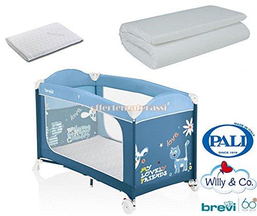 Brevi Dolce Nanna Plus Azzurro + Willy & Co Campeggio + Cuscino Pali MED