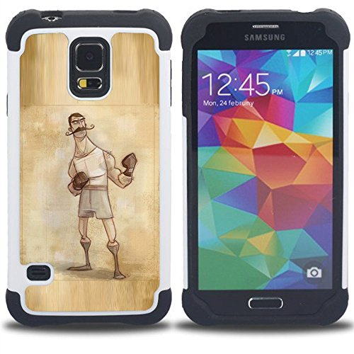 SAMSUNG Galaxy S5 V / i9600 / SM-G900 - 3 in 1 Bunte Printed Heavy Duty Polycarbonat (PC) und Soft Black Silikon-Gel Jacken-Case Cover (Boxer Retro Weinlese-männlicher Mann-Handschuhe)