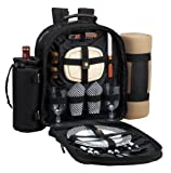Search : Picnic at Ascot Classic Backpack for 2 with Blanket, Black and Gingham
