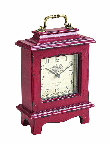 Creative Co-op Casual Country Wood Mantle Clock, 8-Inch, Red