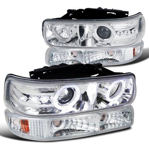 Chevy Silverado Tahoe Suburban Chrome Halo LED Projector Headlights+Bumper Lamps (99 Z71 Silverado Parts compare prices)