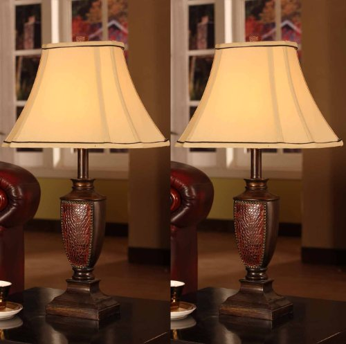 black friday king 39 s brand l2601 fabric shade table lamps brushed red. Black Bedroom Furniture Sets. Home Design Ideas