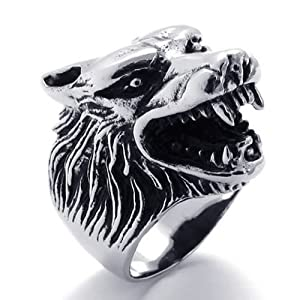 KONOV Jewelry Vintage Biker Men's Wolf Head Stainless Steel Ring - Silver (Available in Sizes 8 - 14) - Size 11 (with Gift Bag)
