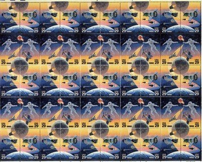 Space Accomplishments Full sheet of 50 x 29 cent US postage stamps Scot #2631-34