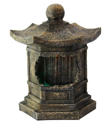 Pagoda with LED Tabletop Water Fountain - With Motion Sound Sensor