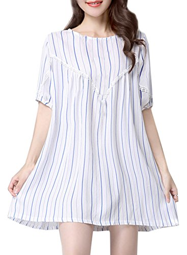 ACHICGIRL Women's Color Block Striped Print Lace Paneled Loose Fit Dress, Blue XXL