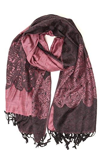 Sakkas CHS1510 - Pashmina/scialle/vestaglietta/stola bordo soffice con motivo a ranuncolo a due colori Sakkas Aubry - Rosa - One Size