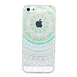 iPhone SE Case, JAHOLAN Beautiful Clear TPU Soft Case Rubber Silicone Skin Cover for iPhone 5/5S/SE - Green and White Dream Catcher