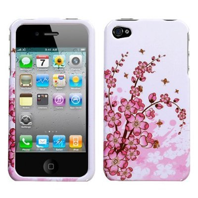 Pink Spring Flower Cherry Blossoms Design Rubberized Feel Snap On Protector Hard Cover Case Compatible for Apple Iphone 4 AT and T VERIZON