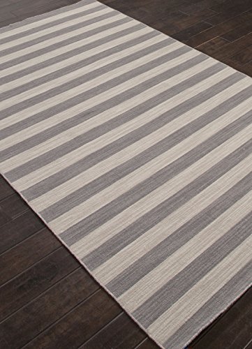 Addison and Banks Flat-Weave Stripe Pattern Wool Area Rug, 4 by 6-Feet, Stone Gray/Ashwood