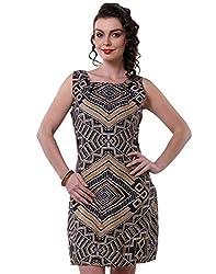 Purys Women's Bodycon Dress (E-150691SP7240_Black Gold_L)