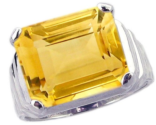 Sterling Silver Cocktail Ring with Large Octagon Genuine Gemstone-Citrine-in full,half,quarter sizes from 5 to 9_8.5