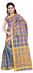 Veer Prabhu Creation Women's Cotton Saree with Blouse Piece (Blue)