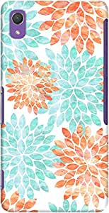 DailyObjects Aqua And Coral Flowers Case For Sony Xperia Z2