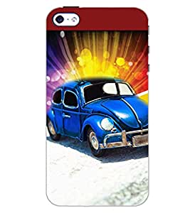 PrintDhaba BLUE CAR D-6150 Back Case Cover for APPLE IPHONE 4 (Multi-Coloured)