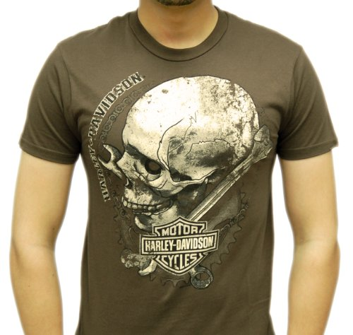 Harley-Davidson Mens Jolly Rider Skull with Gears Brown Short Sleeve T-Shirt (Large)